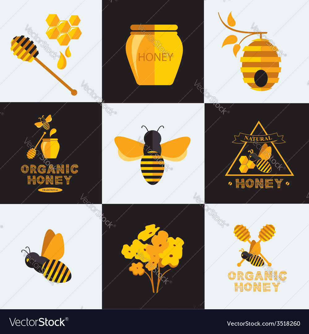 Set honey icons and labels vector | Price: 1 Credit (USD $1)