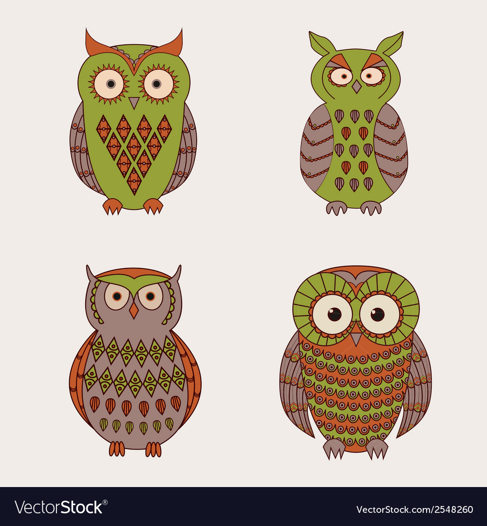 Set of decorative cute owls vector | Price: 1 Credit (USD $1)