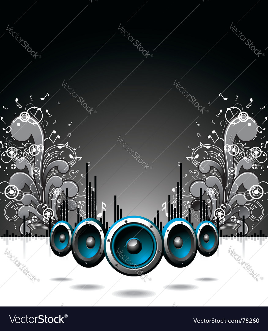 Speakers with floral elements vector | Price: 1 Credit (USD $1)