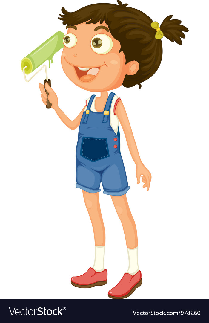 Young girl painting vector | Price: 3 Credit (USD $3)