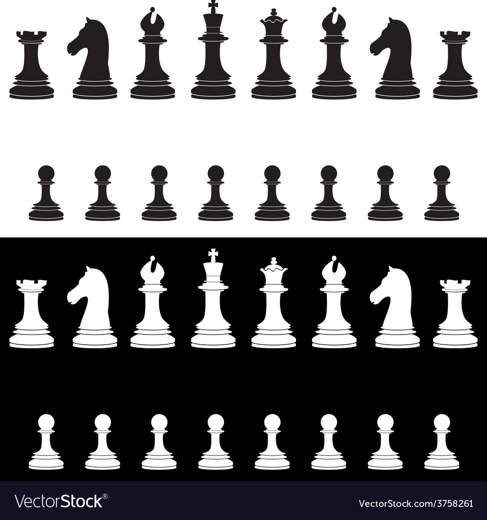 Black and white chess pieces full collection vector | Price: 1 Credit (USD $1)