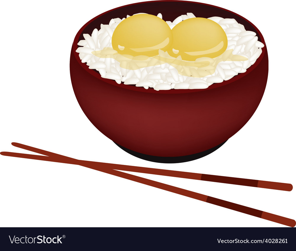 Bowl of white rice with raw egg vector | Price: 1 Credit (USD $1)