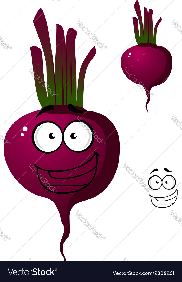 Cartoon beetroot vegetable character vector | Price: 1 Credit (USD $1)