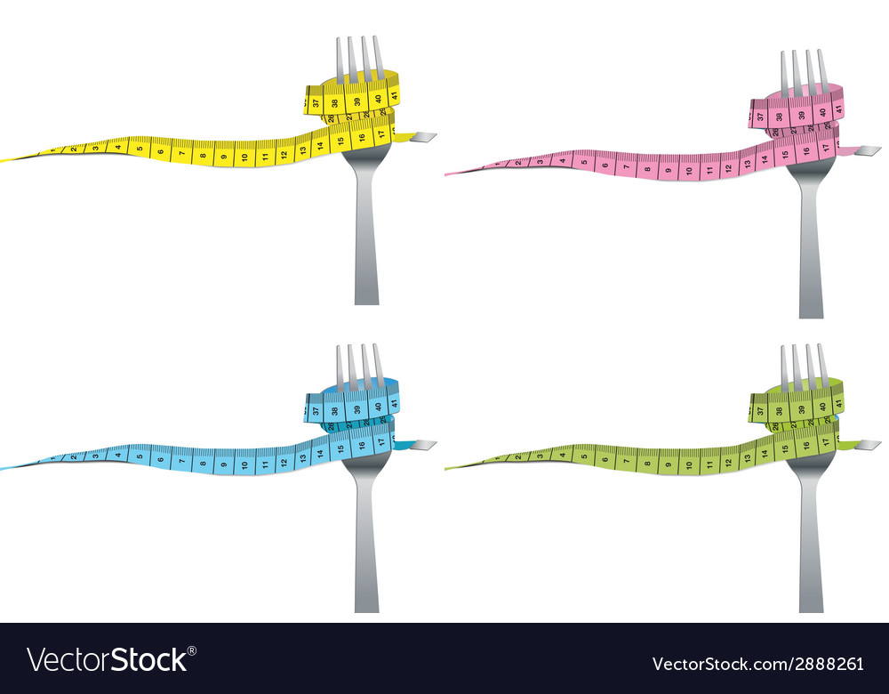 Color set of fork and measuring tape for a healthy vector | Price: 1 Credit (USD $1)