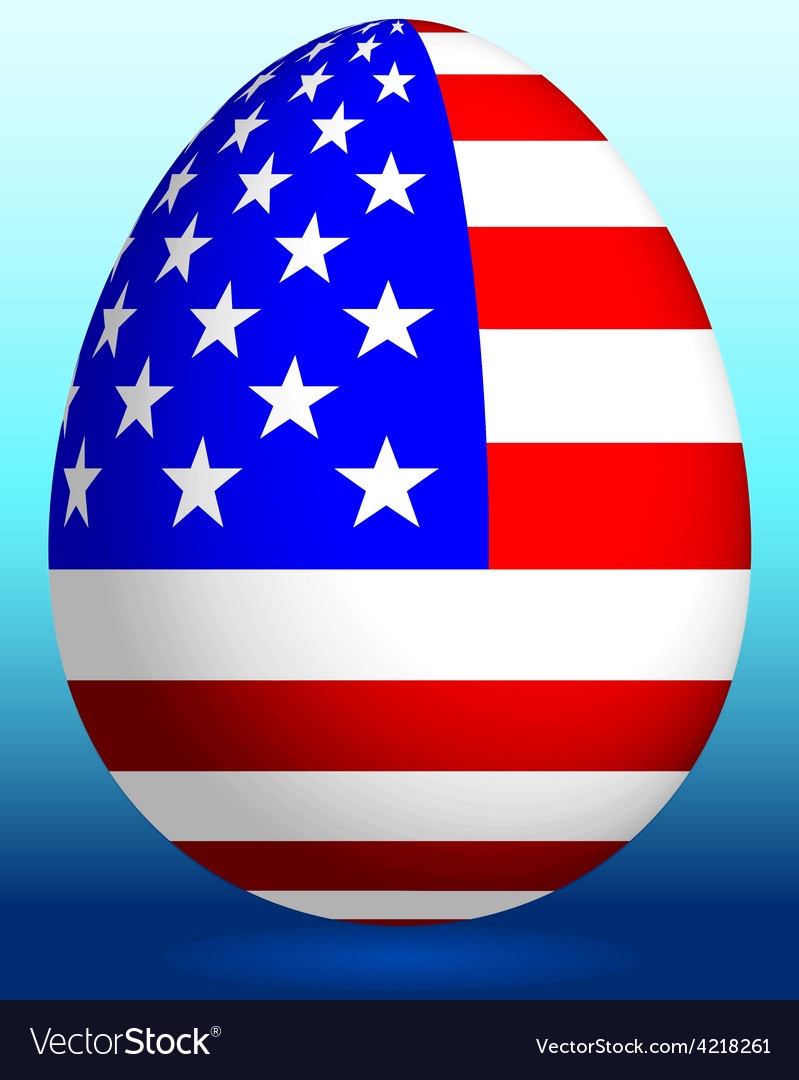 Easter egg with usa flag vector | Price: 1 Credit (USD $1)