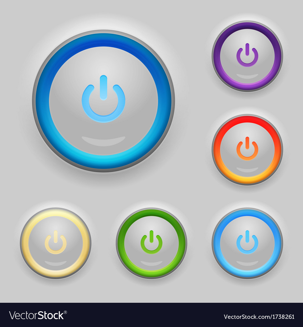 Glowing power button set vector | Price: 1 Credit (USD $1)