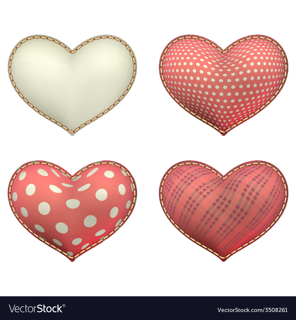 Heart-shaped soft toy set isolated eps 10 vector | Price: 1 Credit (USD $1)