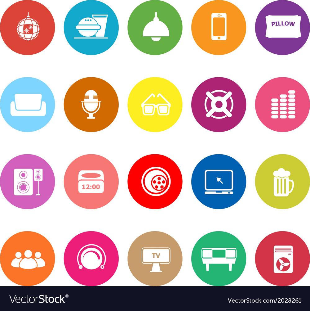 Home theater flat icons on white background vector