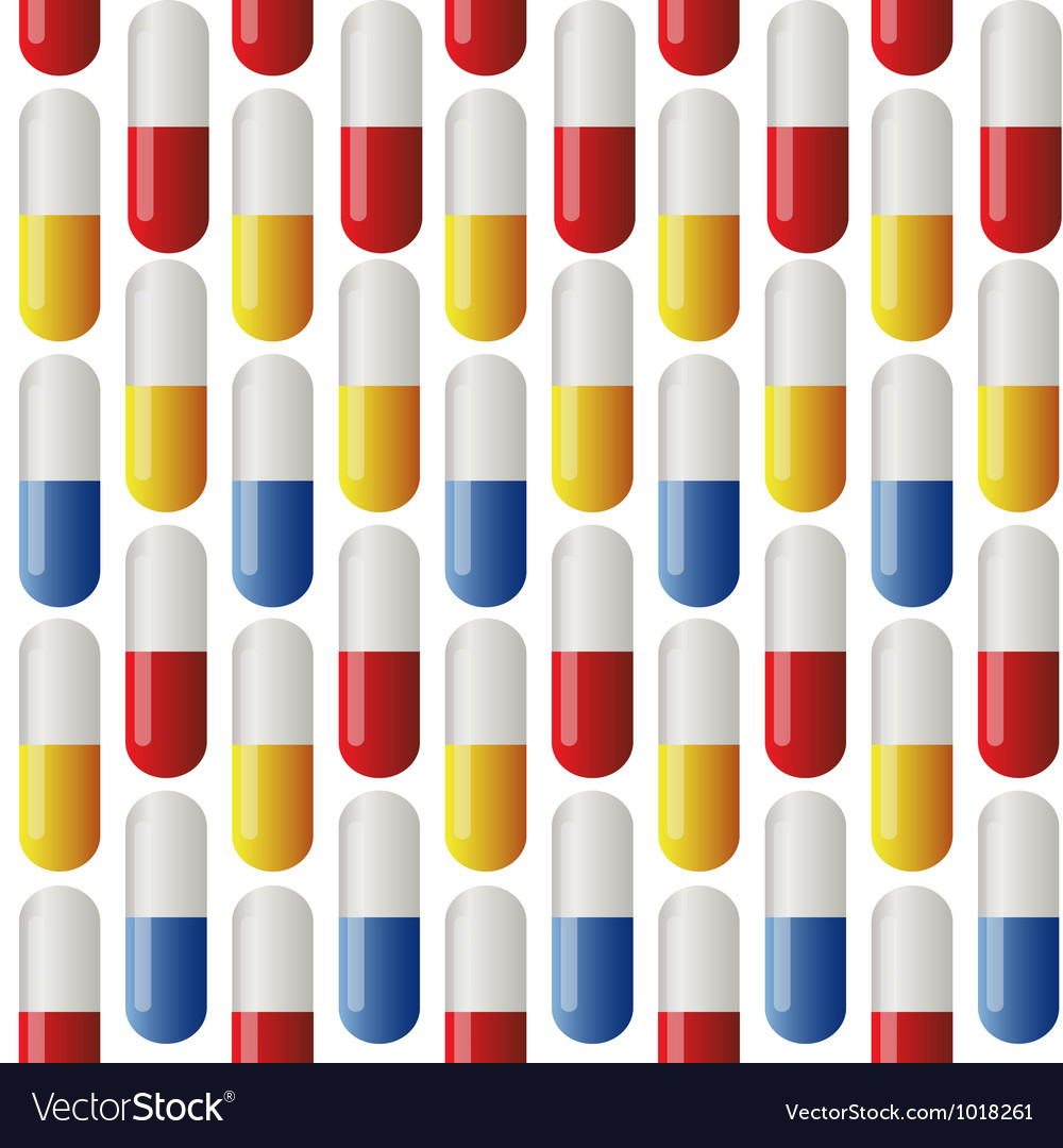 Medicine seamless pattern colorful tablets illus vector | Price: 1 Credit (USD $1)