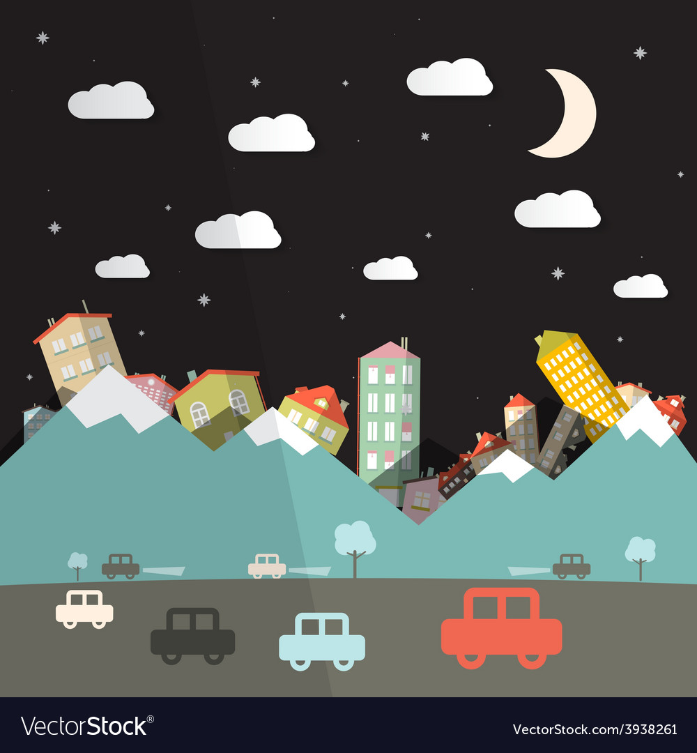 Night landscape with road and cars mountains with vector | Price: 1 Credit (USD $1)