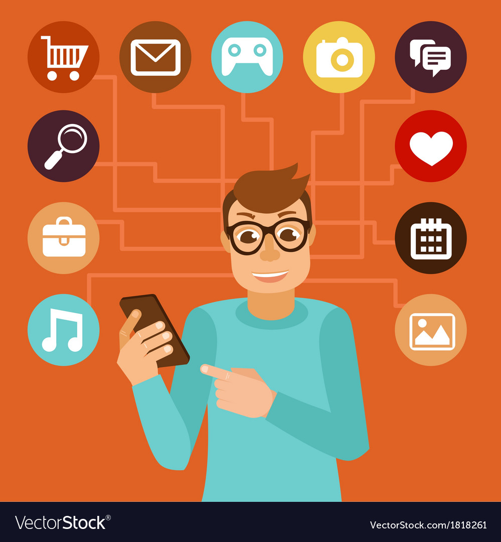 Social media addiction concept vector | Price: 1 Credit (USD $1)