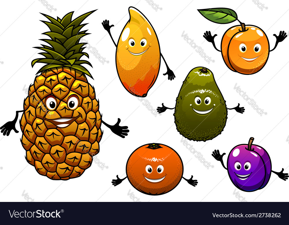 Cartoon fresh fruits set vector | Price: 1 Credit (USD $1)