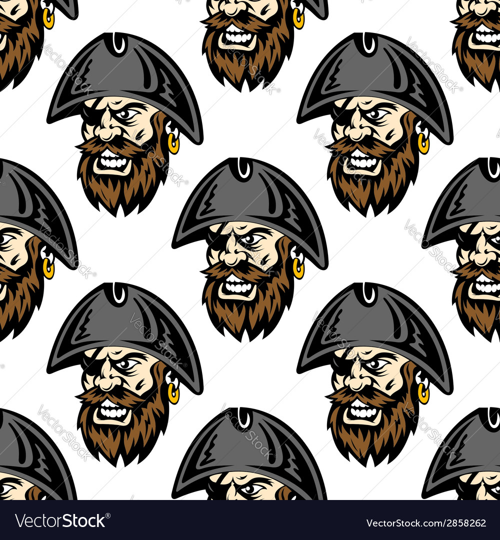 Cartoon pirate seamless pattern background vector | Price: 1 Credit (USD $1)