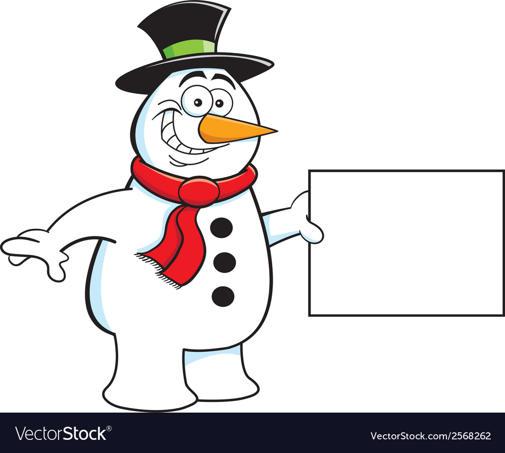 Cartoon snowman holding a sign vector | Price: 1 Credit (USD $1)