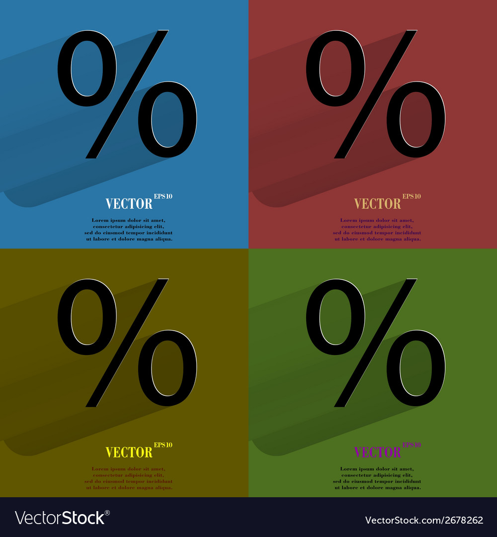 Color set percent flat modern web button with long vector | Price: 1 Credit (USD $1)