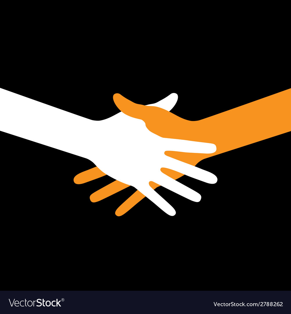 Colorful icon hand shake on black background vector | Price: 1 Credit (USD $1)