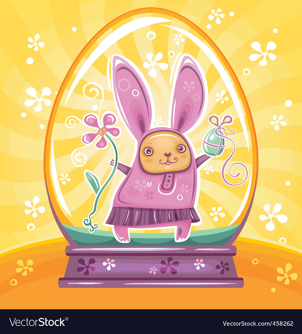 Easter bunny inside of snowdrop vector | Price: 3 Credit (USD $3)