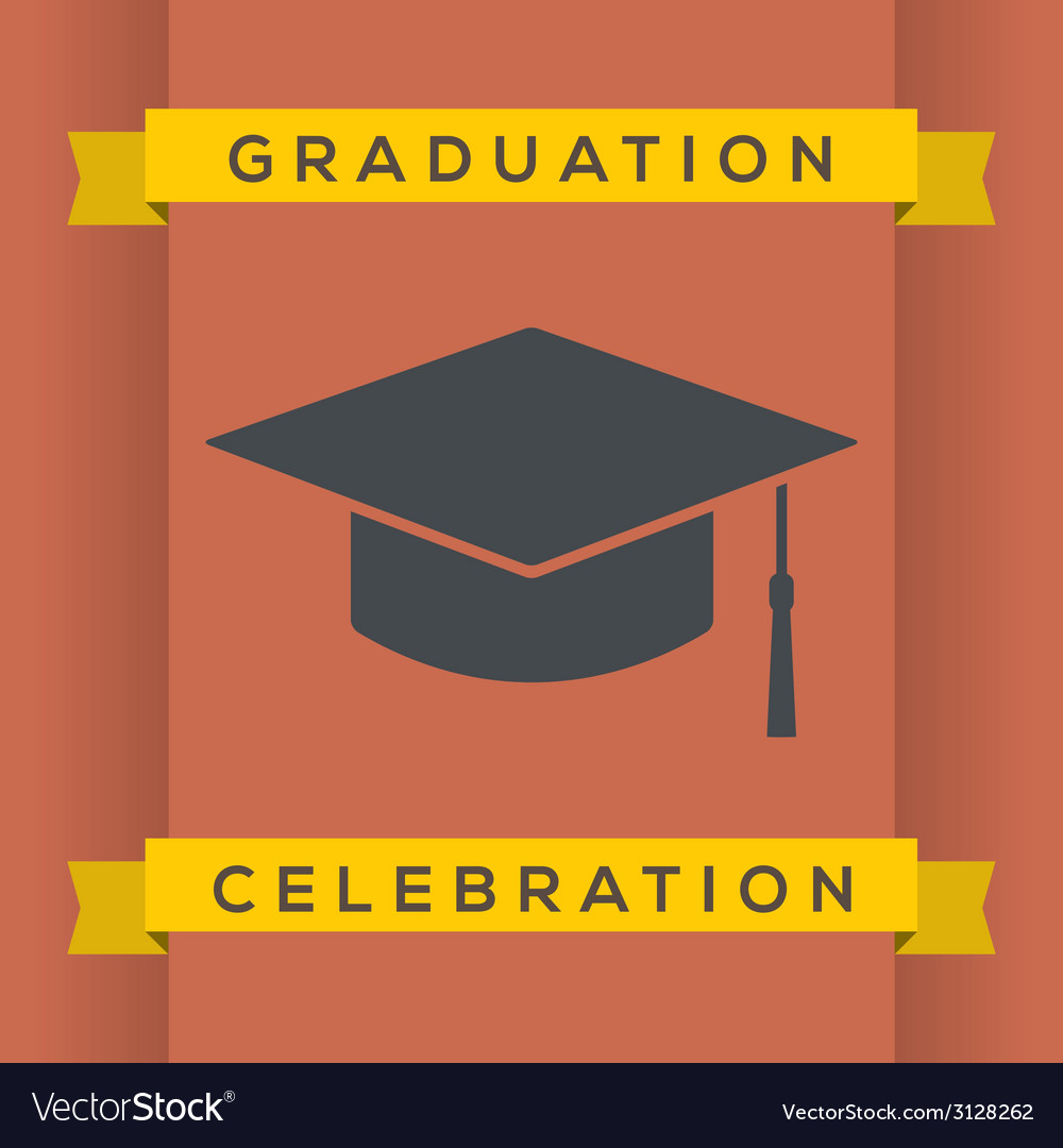 Flat design graduation celebration vector | Price: 1 Credit (USD $1)