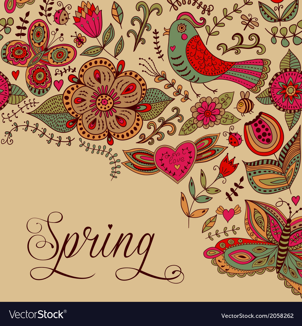 Floral background spring theme greeting card vector | Price: 1 Credit (USD $1)