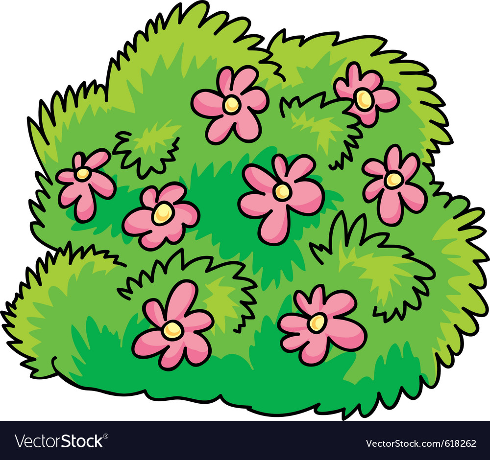 Green bush with pink flowers vector | Price: 1 Credit (USD $1)
