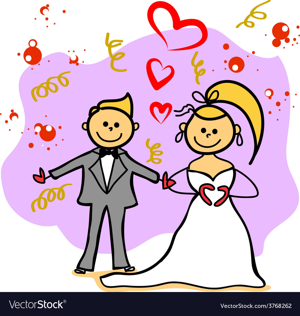 Hand-drawn wedding cartoon character vector | Price: 1 Credit (USD $1)