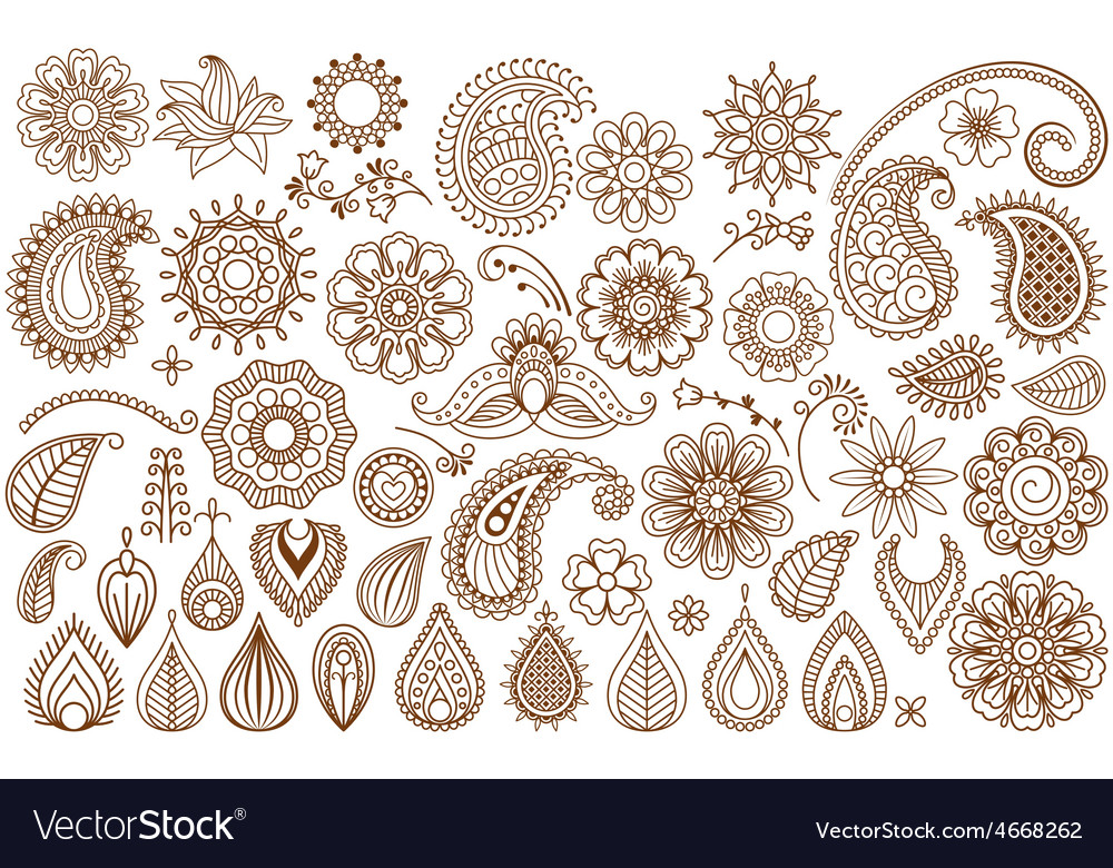 Henna tattoo doodle elements vector | Price: 1 Credit (USD $1)