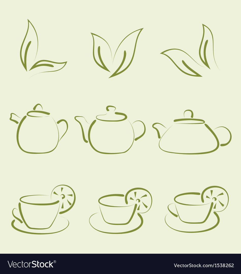 Herbal tea set cups and teapots vector | Price: 1 Credit (USD $1)