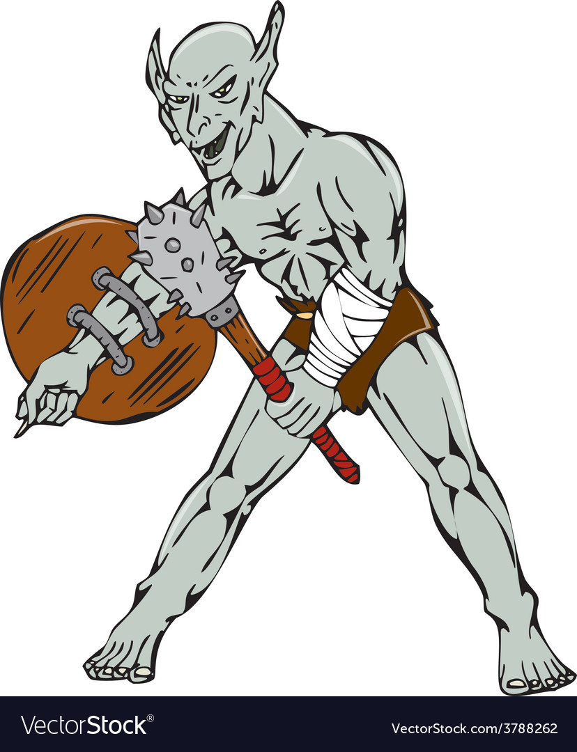 Orc warrior hold club shield cartoon vector | Price: 1 Credit (USD $1)
