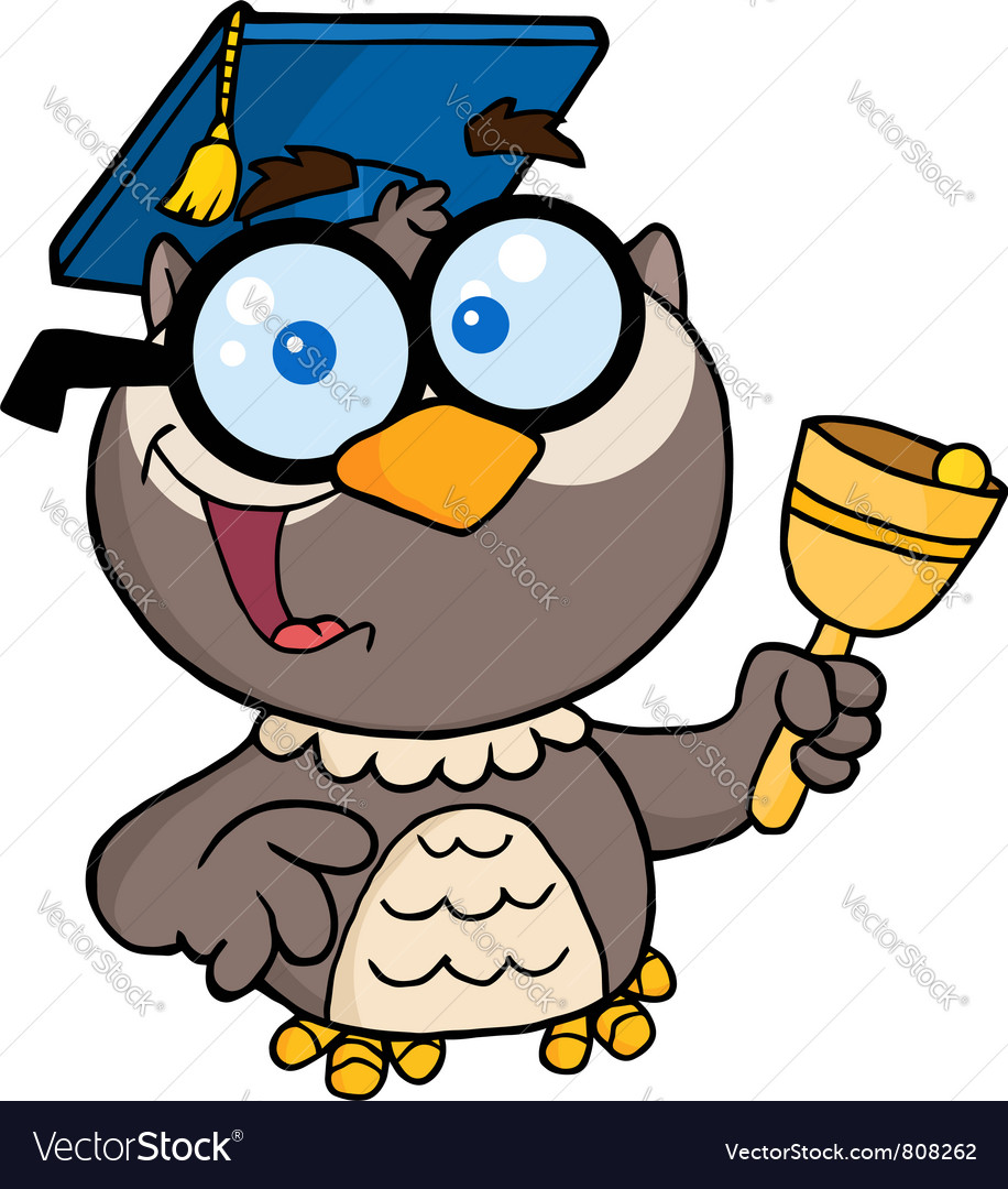 Professor owl ringing a bell vector | Price: 1 Credit (USD $1)