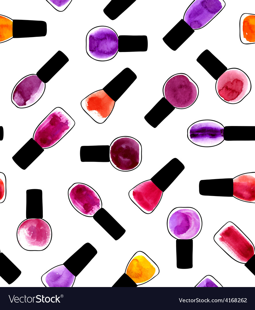 Watercolor painted pattern with nail polishes vector | Price: 1 Credit (USD $1)