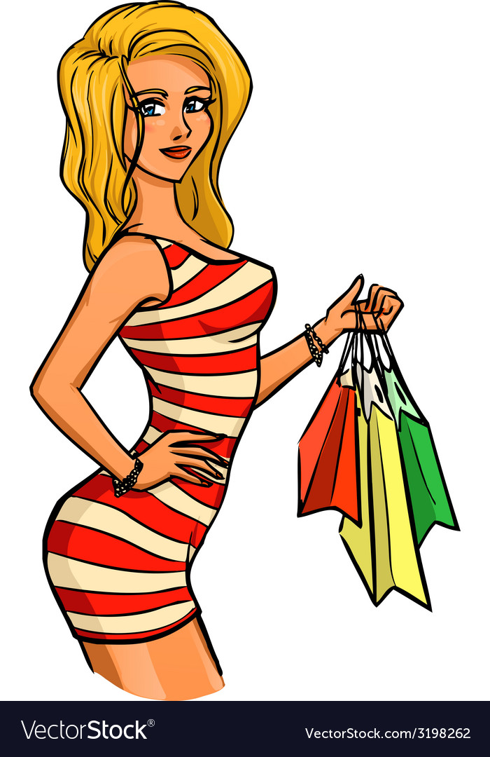 Woman with shopping bags vector | Price: 1 Credit (USD $1)