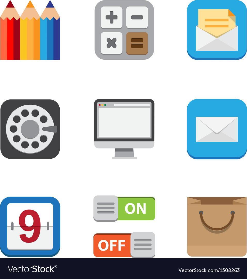 Business and interface flat icons vector | Price: 1 Credit (USD $1)