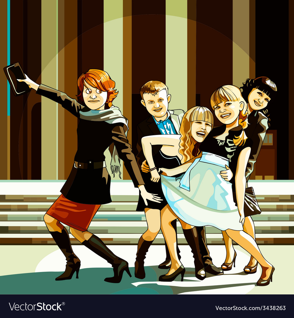 Cheerful young people fool around vector | Price: 3 Credit (USD $3)