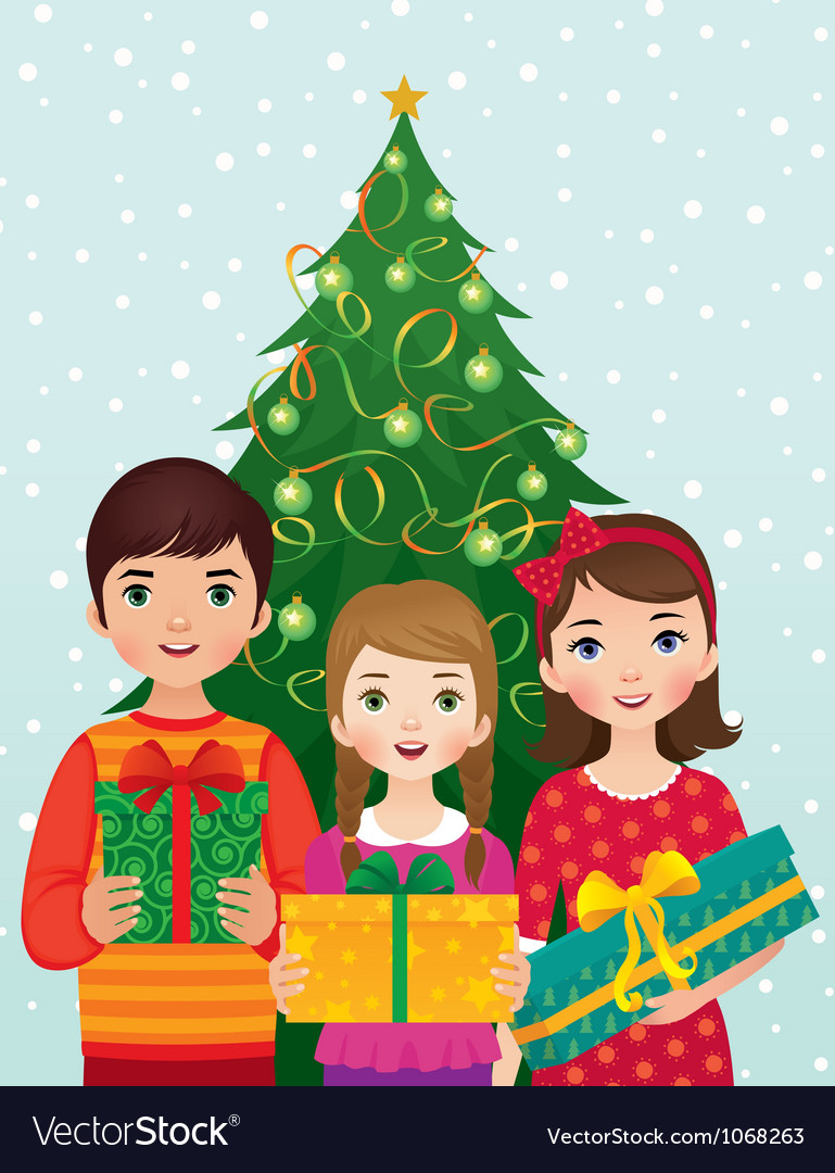 Children and christmas morning vector | Price: 1 Credit (USD $1)
