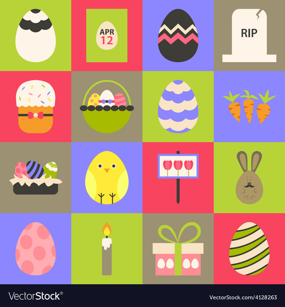 Easter flat stylized icon set 1 vector | Price: 1 Credit (USD $1)