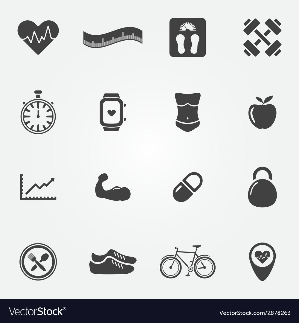 Fitness black icons set vector | Price: 1 Credit (USD $1)