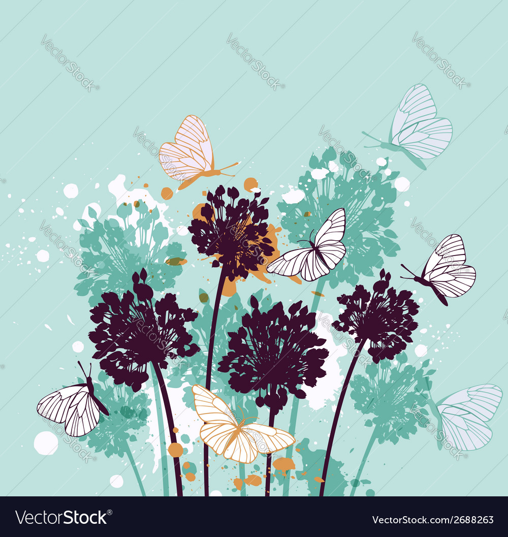 Green decorative background with butterflies vector | Price: 1 Credit (USD $1)