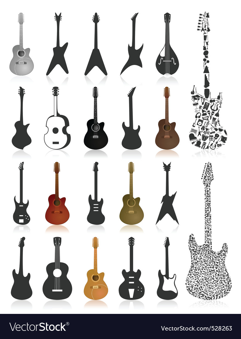 Guitar icons vector | Price: 1 Credit (USD $1)