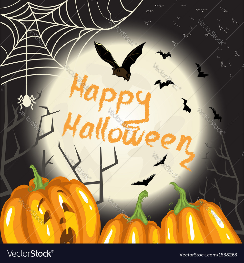 Halloween background with pumpkins moon and bats vector | Price: 3 Credit (USD $3)