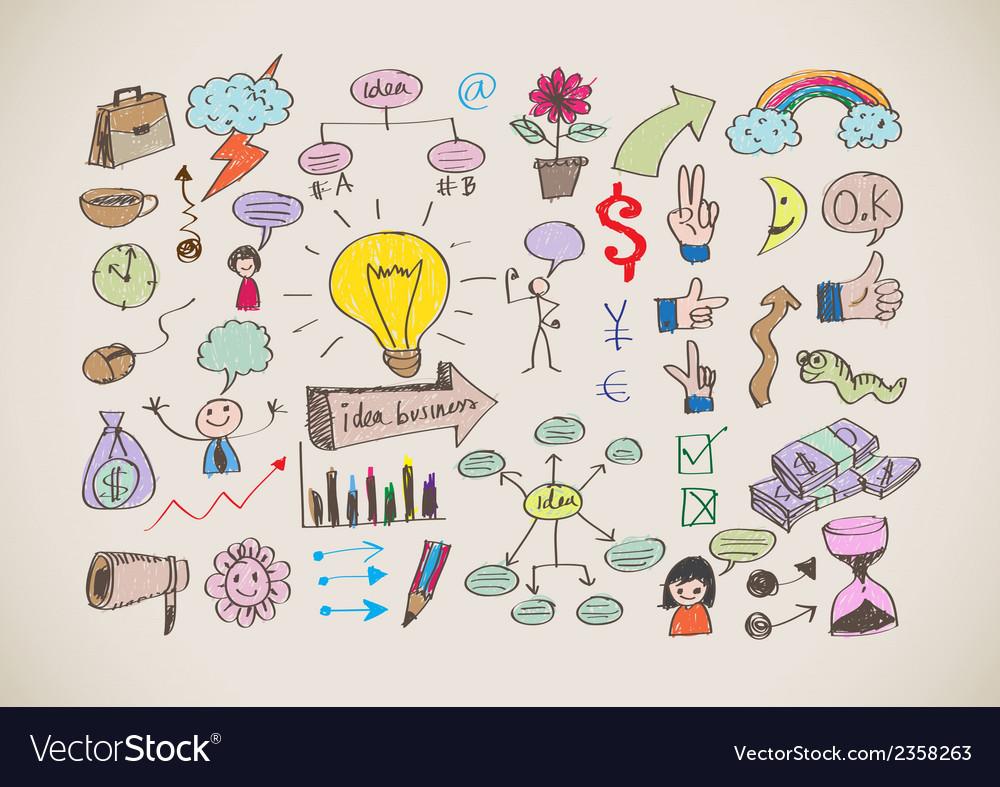 Hand doodle business icon set idea design vector   Price: 1 Credit (USD $1)