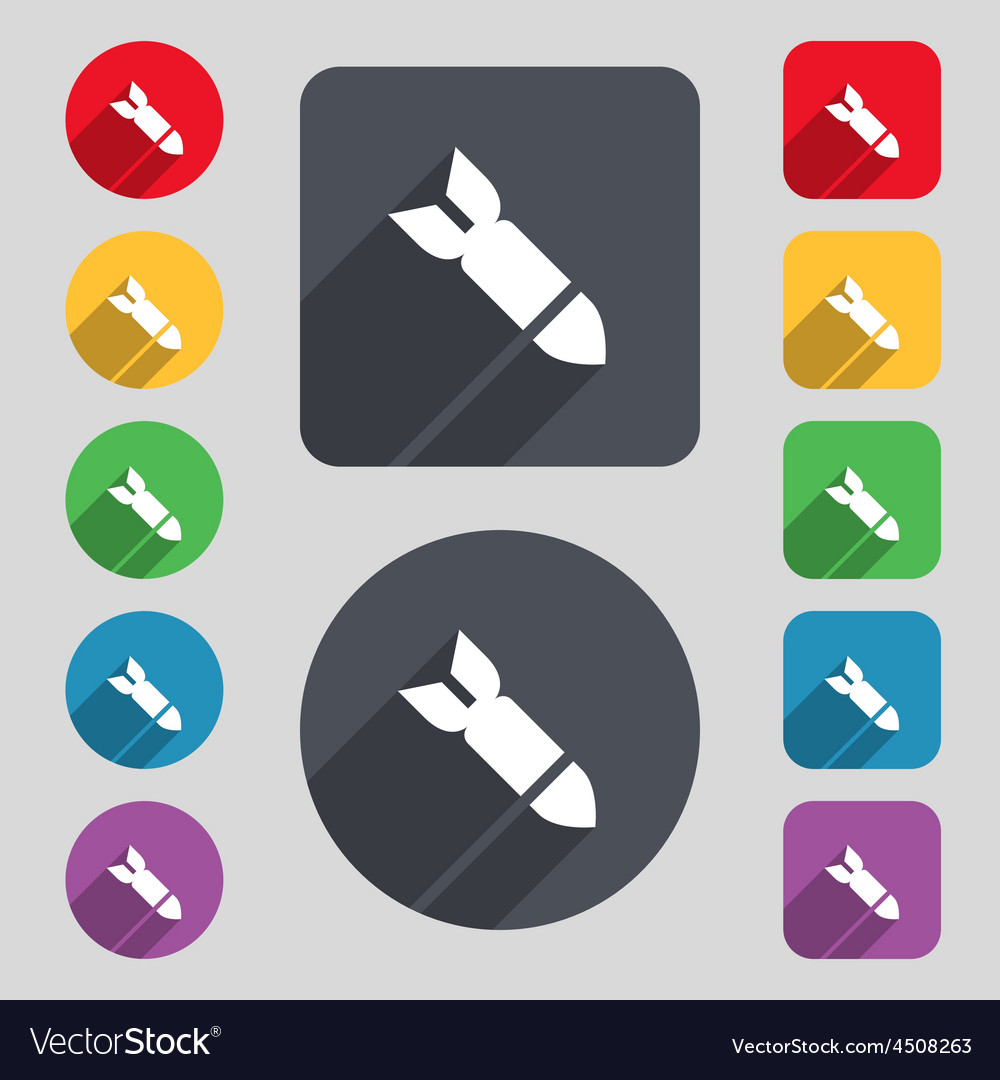 Missilerocket weapon icon sign a set of 12 colored vector | Price: 1 Credit (USD $1)