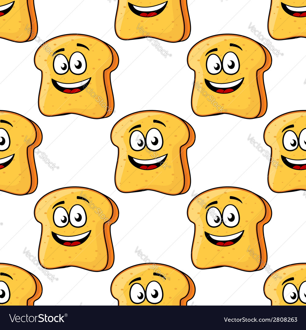 Seamless pattern of cartoon bread toast slices vector | Price: 1 Credit (USD $1)