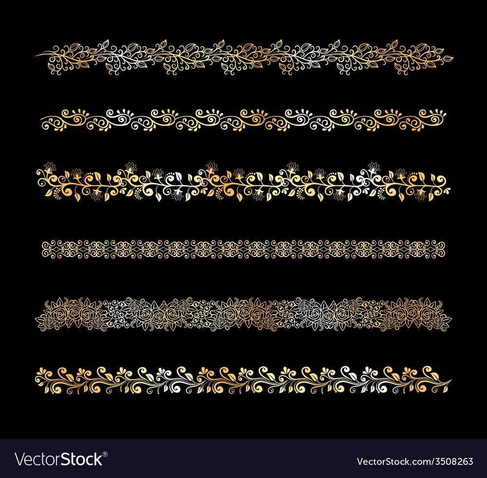 Set of decorative floral border elements vector | Price: 1 Credit (USD $1)
