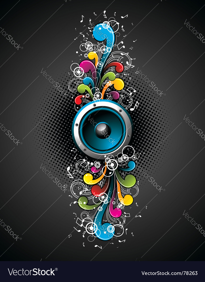Speakers with floral vector | Price: 1 Credit (USD $1)