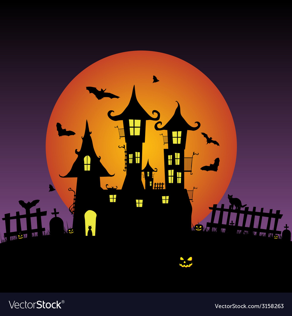 Sweet and beauty castle with bats vector | Price: 1 Credit (USD $1)