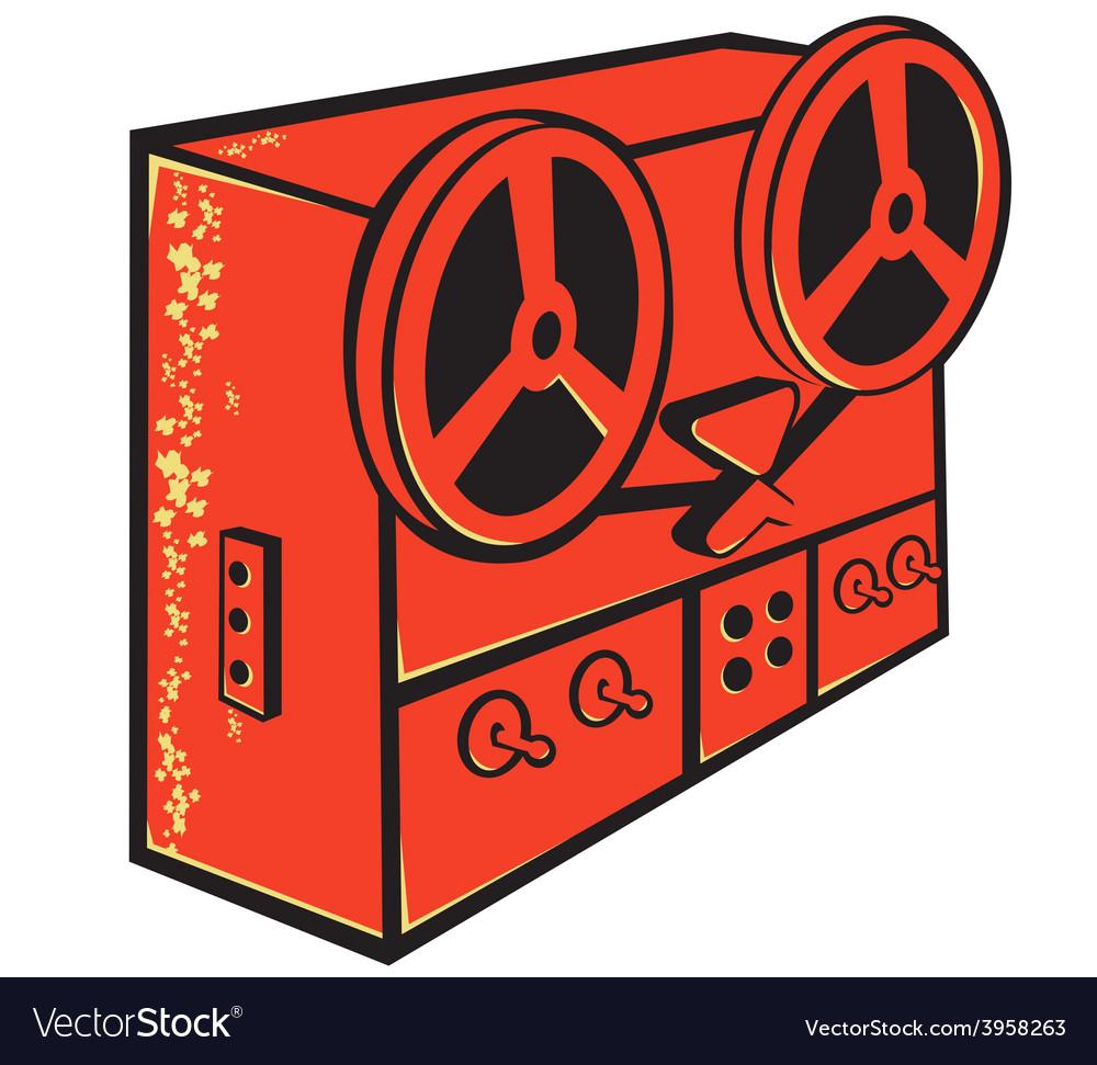 Tape recorder reel cassette deck retro vector | Price: 1 Credit (USD $1)