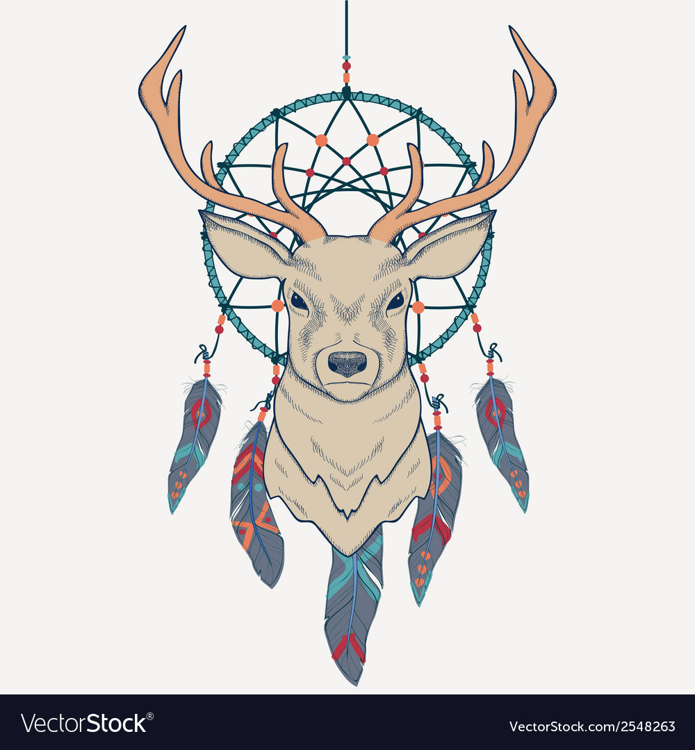 With deer and dream catcher vector | Price: 1 Credit (USD $1)