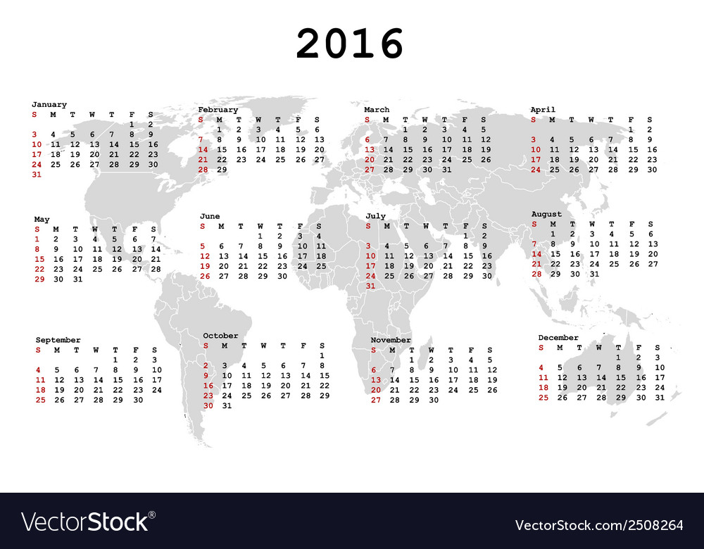 2016 calendar for agenda with world map vector | Price: 1 Credit (USD $1)