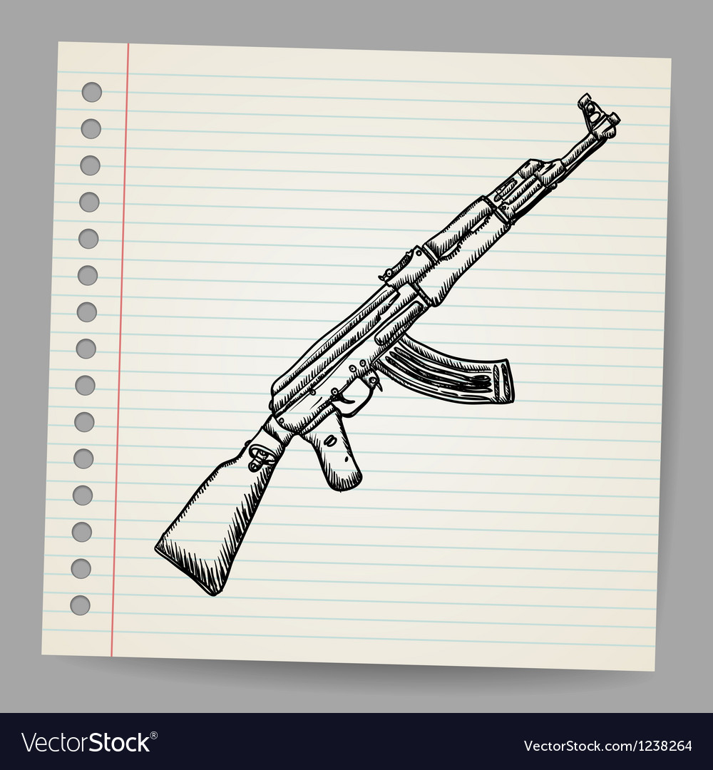 Assault rifle ak47 doodle style vector | Price: 1 Credit (USD $1)