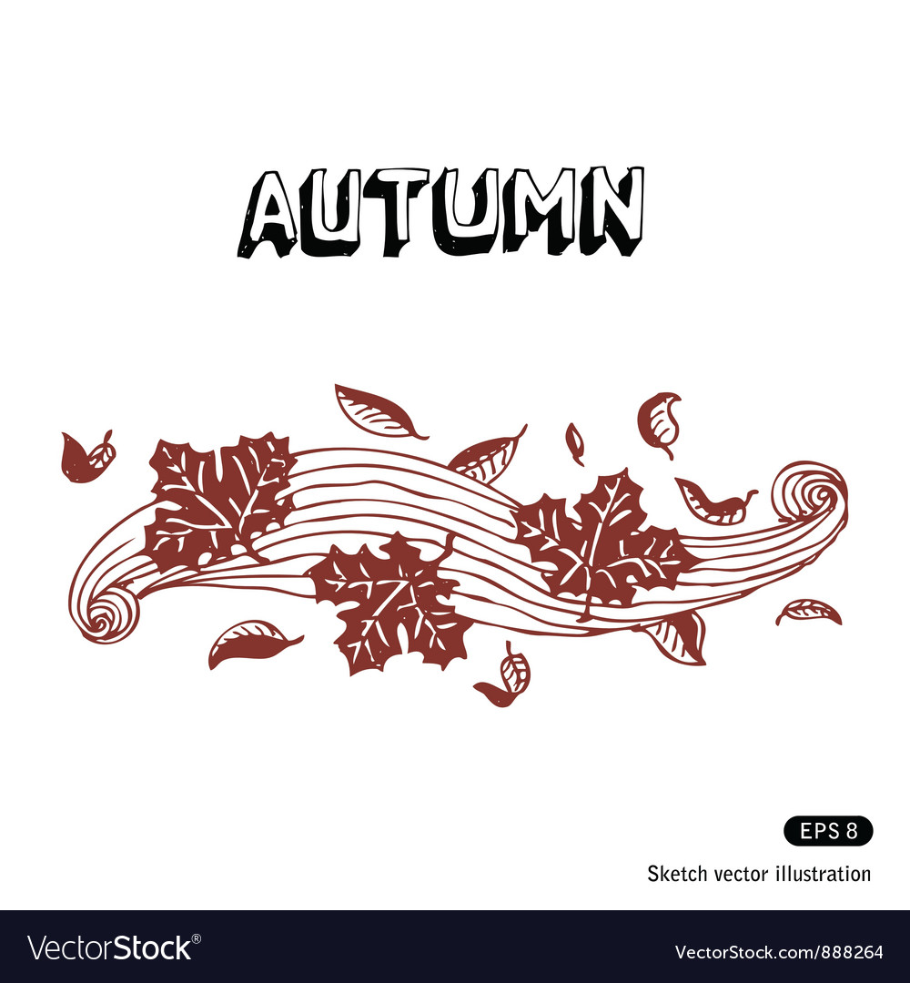 Autumn leaves and wind vector | Price: 1 Credit (USD $1)
